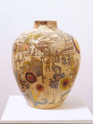 1  Mixed-up Child  or Messed-up adulthood in Auckland: JOHN HURRELL   Grayson Perry,  Interior conflict , 2004, glazed ceramic. Collection of Jay Ecklund, Fort Lauderdale, Florida