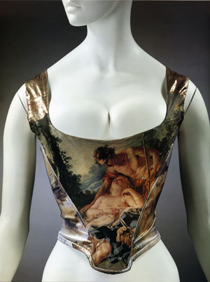 7 Theatres of fashion: Vivienne Westwood and Boucher, Watteau and the origin of the Rococo: HANNAH WILLIAMS   Vivienne Westwood, Corset printed with a detail from Francois Boucher,  Daphnis and Chloe (shepherd atching a sleeping shepherdess) , from the Portrait collection (Autumn/Winter 1990 - 91)