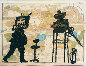 1 William Kentridge's imperfect activity: Kentridge in Sydney: SHAUNE LAKIN    William Kentridge,  Office love , 2001, mohair tapestry, woven in South Africa. Private collection Sydney. Photo courtesy of Annandale Galleries, Sydney.