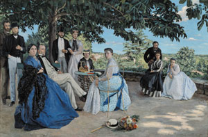6  The Impressionists  in Melbourne PETER RUDD   Frederic Bazille,  Reunion de famille (Family reunion) , 1867 reworked 1869, oil on canvas. Collection of the Musee d'Orsay, Paris.