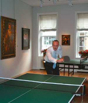 8 Diary: From Paris to Texas: ANGUS TRUMBLE   The author, photographed at the annual Hall & Knight Old Master Paintings summer cocktail party and ping-pong tournament, East 67th Street, New York City. Photo courtesy of Nicholas Hall.