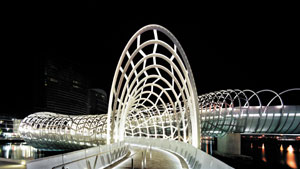 3 Sculpture, sculpture, and more sculpture!: KEN SCARLETT   Robert Owen (artist), with Denton Corker Marshall (architects),  Webb Bridge , 2003, Docklands, Melbourne
