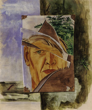 6 To look within: Self portraits in Australia at the University of Queensland Art Museum: TIMOTHY MORRELL   Eric Thanke,  Self portrait in a borken shaving mirror, , 1945, gouache on paper. Private collection, Geelong, Victoria.