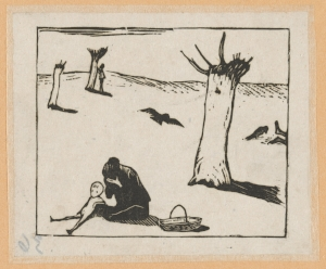 3 friends: Peter Townsend and China: Claire Roberts   Gu Yuan,  Starvation , 1930s, woodcut, printed in black ink, from one block, 9.8 x 11.6cm, National Gallery of Australia, Canberra; Peter Townsend Collection, purchased with the assistance of the Australia-China Council 1985