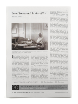 5 From the Clock tower: David Williams   No.193, September 2006: edited by Deborah Clark; designed by bKathreen Ricketson Peter Townsend in the Art Monthly Australia office, in the clock tower of the ANU School of Art, Canberra, c. 1993; photo: Douglas Holleley
