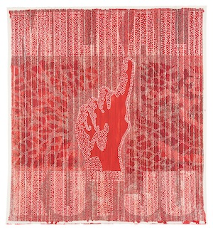 9 A Curated Vision for the 2017 NATSIAAs: Michael   Fitzgerald,  Darwin    Robert Fielding,  Milkali Kutju  - One Blood, 2017, synthetic polymer paint and ink on burnt and pierced paper, 153.5 x 140.5cm; image courtesy the artist and MAGNT, Darwin