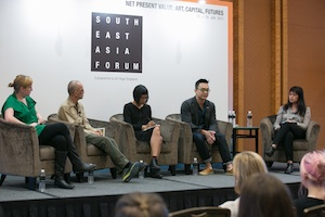 7 Independence, space and art: Jason Wee and Grace Samboh in Conversation   The Free and the Brave: Artist-Initiated Spaces and Platforms, Southeast Asia Forum at Marina Bay Sands for Art Stage Singapore, 12 January 2017, with (from left): Nathalie Johnston, Norberto 'Peewee' Roldan, Grace Samboh, Jason Wee and Chuong-Đài Võ; image courtesy Art Stage Singapore
