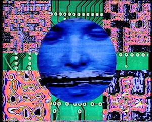 11 Curating Histories: 'Red Green Blue' at Griffith: Ellie Buttrose,  Brisbane    Troy Innocent and Dale Nason,  Cyber Dada  Manifesto, 1990, still from video, 5 mins 48 secs duration; image courtesy the artists