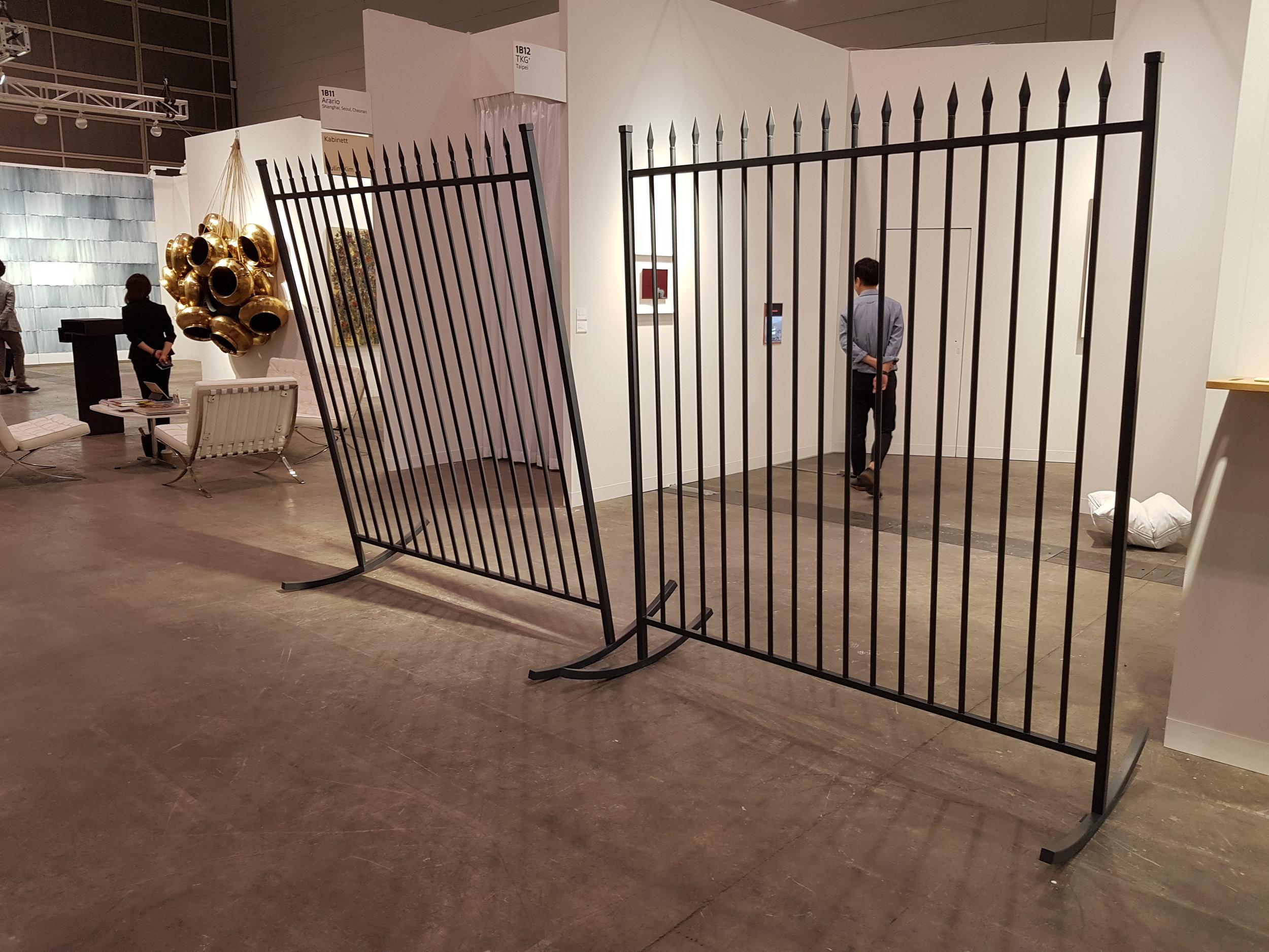 Joyce Ho,  Balancing Act , 2018, installation view, TKG+ booth, Art Basel Hong Kong, March 2018; photo: Chloé Wolifson
