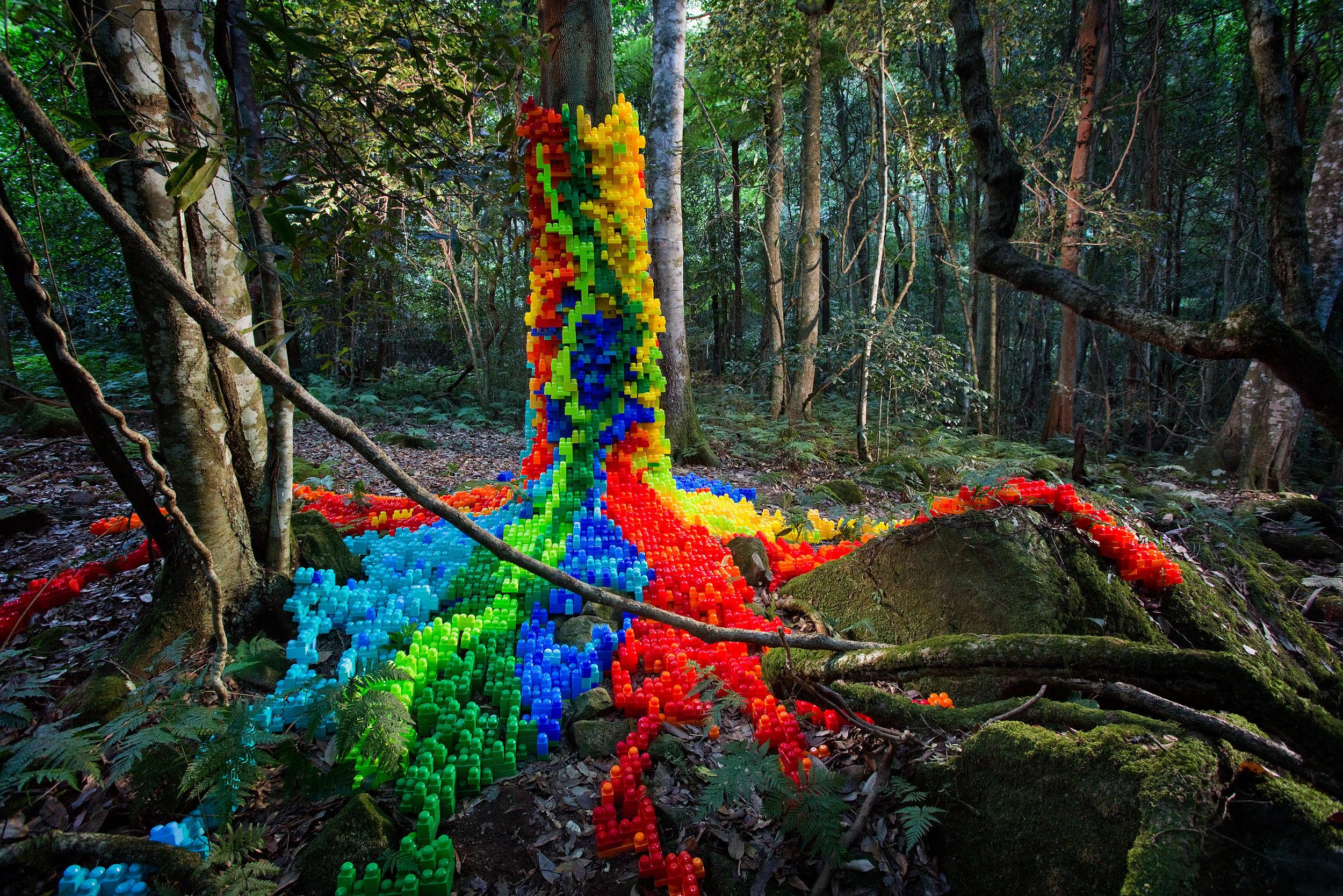 Rochelle Quantock,  Choking Hazard , 2018, installation view, 'Sculpture at Scenic World 2018', Katoomba; image courtesy Scenic World
