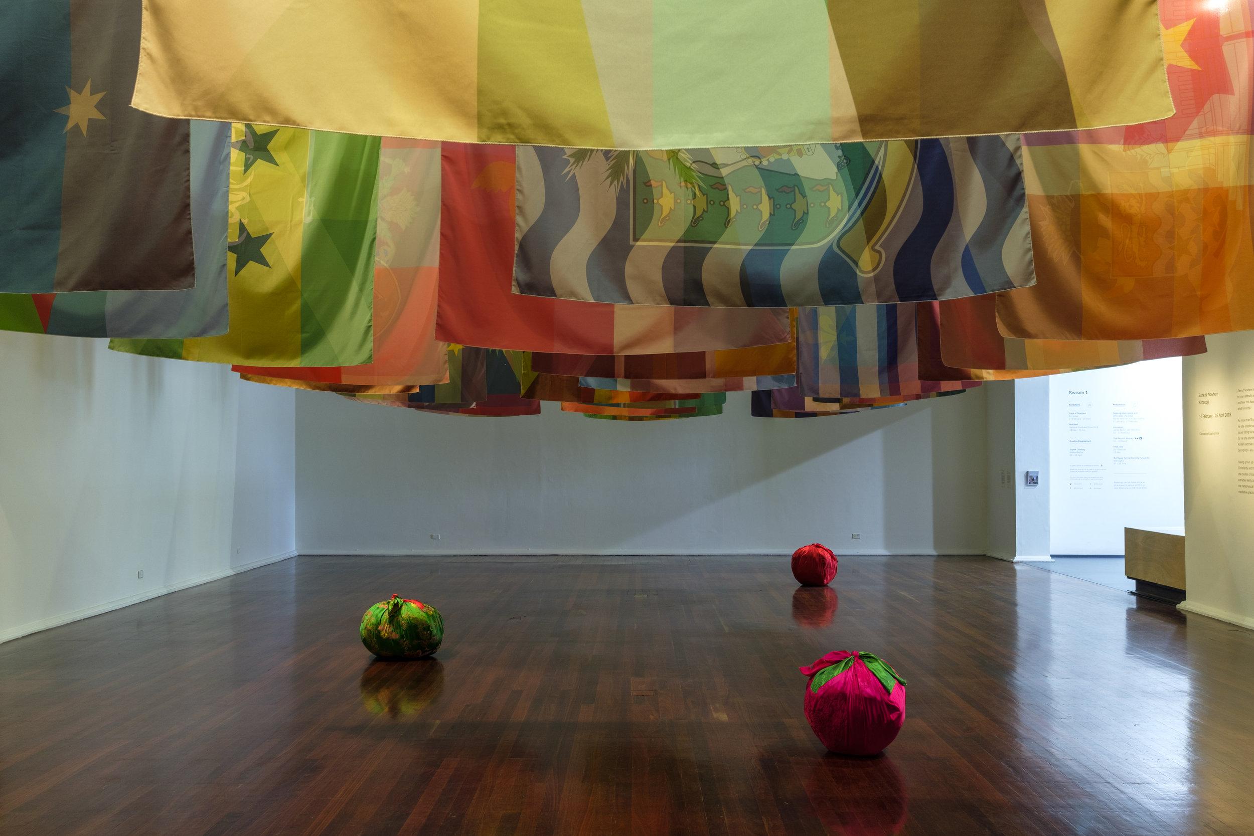 Kimsooja,  To Breathe – Zone of Nowhere  and  Bottari,  2018; installation detail view, Perth Institute of Contemporary Arts (PICA), 2018; site-specific installation; image courtesy PICA, Perth; photo: Alessandro Bianchetti