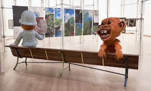 7 floating and flouting the national: two museums in wind¥ wellington: julie ewington,  wellington    Michael Parekowhai,  Détour , 2018, exhibition installation view, Toi Art, Museum of New Zealand Te Papa Tongarewa, Wellington, 2018, with (from left): Michael Parekowhai,  Constable Plum Bob  and  Hoodwinked , both 2018, fibreglass and automotive paint; with (in background) Colin McCahon,  Northland Panels , 1958; image courtesy Te Papa; photo: Maarten Holl