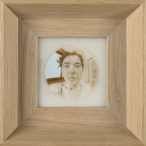 1 Dispatches: Andrew Stephens   Natasha Walsh,  Within the Studio (self-portrait) , 2017, oil on marble, 10 x 10cm; image courtesy the artist and Newcastle Art Gallery