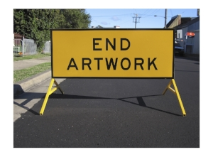 9 Richard tipping: notes on 'art word'   Richard Tipping,  Artwork , 2004, photographed in Mayfield, New South Wales, 2004; double-sided sign, reflective tape on boxed-edged steel sheet, 60 x 150cm on A-frame legs, edition of 4; Lake Macquarie City Art Gallery; digital photograph 2004, printed 2018, 59.4 x 41cm, Latrobe Regional Gallery, Morwell; image courtesy the artist and Australian Galleries, Melbourne and Sydney; photo: Richard Tipping