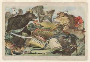 """10 mingled ferocity and childish want of taste: huang yongping's  les consoles de jue souveraines     Udo J. Keppler,  The real trouble will come with the """"wake"""" , 1900, colour lithograph, 35 x 51cm (sheet), Library of Congress, Washington, D.C.; image courtesy the Library of Congress, Washington, D.C."""
