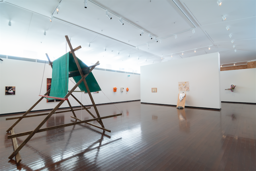 Painting Amongst Other Things , exhibition installation view, Drill Hall Gallery, Canberra, 2018, with (foreground): Ti Parks,  Banner , 1969, National Gallery of Australia, Canberra; photo: David Paterson, Dorian Photographics