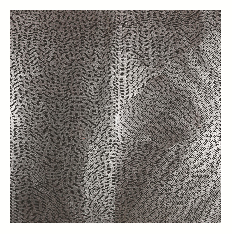 Gunybi Ganambarr,  Buyku , 2018, etching on aluminium board, 300 x 300cm; image courtesy the artist and MAGNT, Darwin