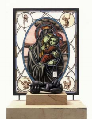 6 Controversy @ Mornington Peninsula Regional Gallery: EUGENE BARILO von REISBERG   Lisa Roet,  Mother and Child , 2004, limestone, stained glass and bronze; Collection: Maitland Regional Art Gallery