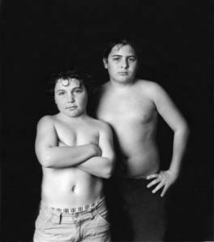 1 Collateral Damage: DENISE FERRIS & MARTYN JOLLY   Ella Dreyfus,  The Ladz: Nadz and Dax , 2005, silver gelatin print. This photograph won the Olive Cotton Award for Photographic Portraiture (2005) yet as an image is similar to the artist's partly censored  Under Twelves  series/exhibition. Courtesy the artist