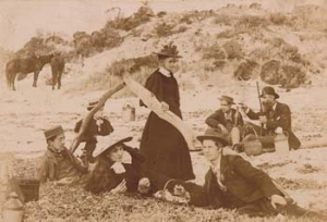 4 A Century of Focus: South Australian Photography 1840s – 1940s: TANYA COURT   C. R. Marlow, Australia (1854 – 1919),  Picnic at the beach , 1890s, albumen-silver photograph (cabinet card). R.J. Noye Collection. Gift of Douglas and Barbara Mullins 2004. Courtesy Art Gallery of South Australia, Adelaide  As a landscape architect I am interested in the representation of landscape and how this is also manifested in the constructed landscape. Is 'faithful recording' possible? What are the possibly unique qualities of photography that this 'new process' was able to bring to the representation of landscape? Was the 'wonder' of the new process equal to capturing the 'wonder' of a new landscape unfolding at the same time to colonial settlers? A review of the recent exhibition, A Century in Focus: South Australian Photography 1840s – 1940s, will be used as a lens, narrowing the aperture, to consider the photographic depiction of the unique qualities of particular landscapes, especially in regard to their role in recording 'time'. Photographs are static but they are not motionless. Where is this motionlessness evident in the exhibition? Is it in the space between the image and the dynamic 'reality' of the landscape? While the photographs are aesthetic objects in their own right, they are also contextualised records of progress and process, providing critique and commentary on our own time as well as their own. The same concerns resonate through contemporary debates about landscape architectural representation and practice