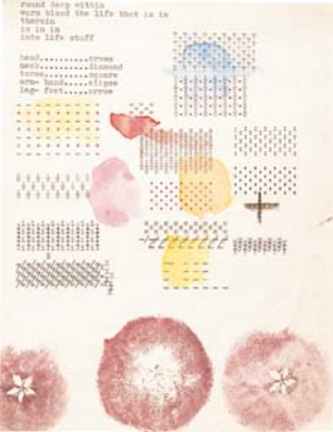 2 Someone's Universe: the Art of Eugene Carchesio: DAVID PESTORIUS   Eugene Carchesio,  187 works for the People's Republic of Spiritual Revolution  (detail), 1975-90, watercolour, pencil, collage, ink and pressed leaves on paper. 168 sheets ranging from 15 x 9cm to 22.6 x 17cm. Purchased 2002. Collection: Queensland Art Gallery