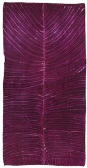 5 Luminescent Journeys: Aboriginal Batik from Central Australia: ODETTE KELADA   Ada Bird Petyarr,  Arnkerrth (Mountain devil lizard) and Ngangkar (Traditional healer),  1991, batik on silk, 181 x 93cm. Presented through the NGV Foundation by John McPhee, Fellow, 2005
