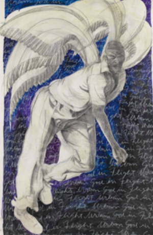 11 Letter to editor   Ron Hurley,  Cricket gods 2 (Urban god in flight) , 1999, graphite and oil on paper, 147.5 x 96.5cm. Hurley Family Collection, Brisbane
