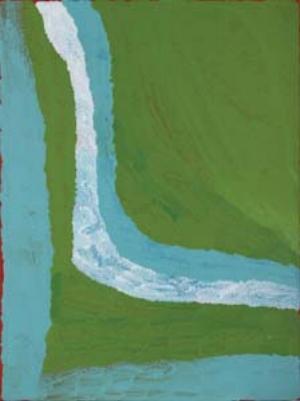 13 Green at Darwin's Outstation: SKYE RAABE   Lydia Balba,  Winpa , acrylic on linen, 120 x 90cm, 2011. Image courtesy the artist at Short St Gallery, Broome