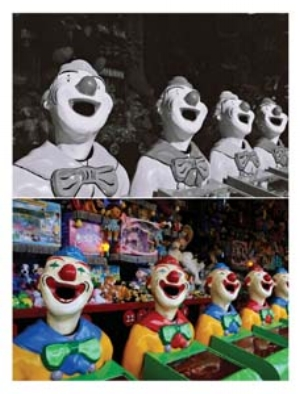 8 Now becoming then: Re-photography and John Elliott's The Last Show and Re-shoot: DOUG SPOWART    Laughing clowns , 1985 / 2010, pigment ink printed on PVC based material, 164.5 x 125cm. All images of work by John Elliott; courtesy the artist