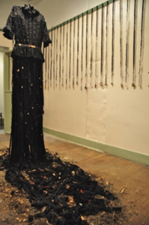 10 The Black Wedding Dress: MICHELLE MURRAY   Annabelle Collette,  Abandoned Dress , 2011, cotton, bones, rusted metal, shell and buttons, installation view, South Coast Regional Arts Centre (the former Old Goolwa Police Station), Goolwa, SA