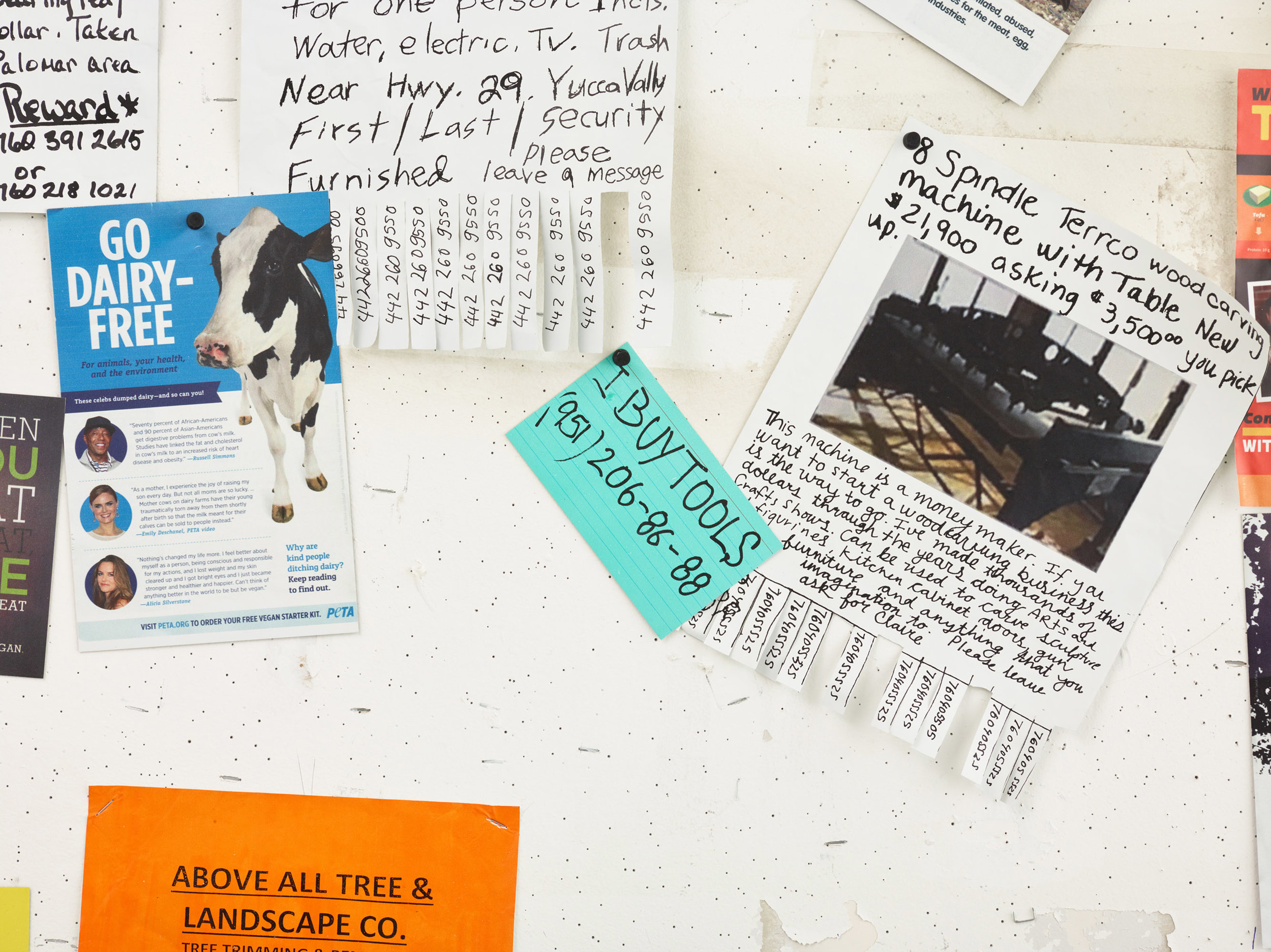 7 outside of all places; fiona connor's sculpture; oscar capezio   Fiona Connor,  Community Notice Board (Cleaning Coop) , 2018, detail; plasterboard, acrylic, silkscreen and UV prints on aluminium, staples, pins, 122 x 214 x 8cm; image courtesy the artist and Fine Arts, Sydney