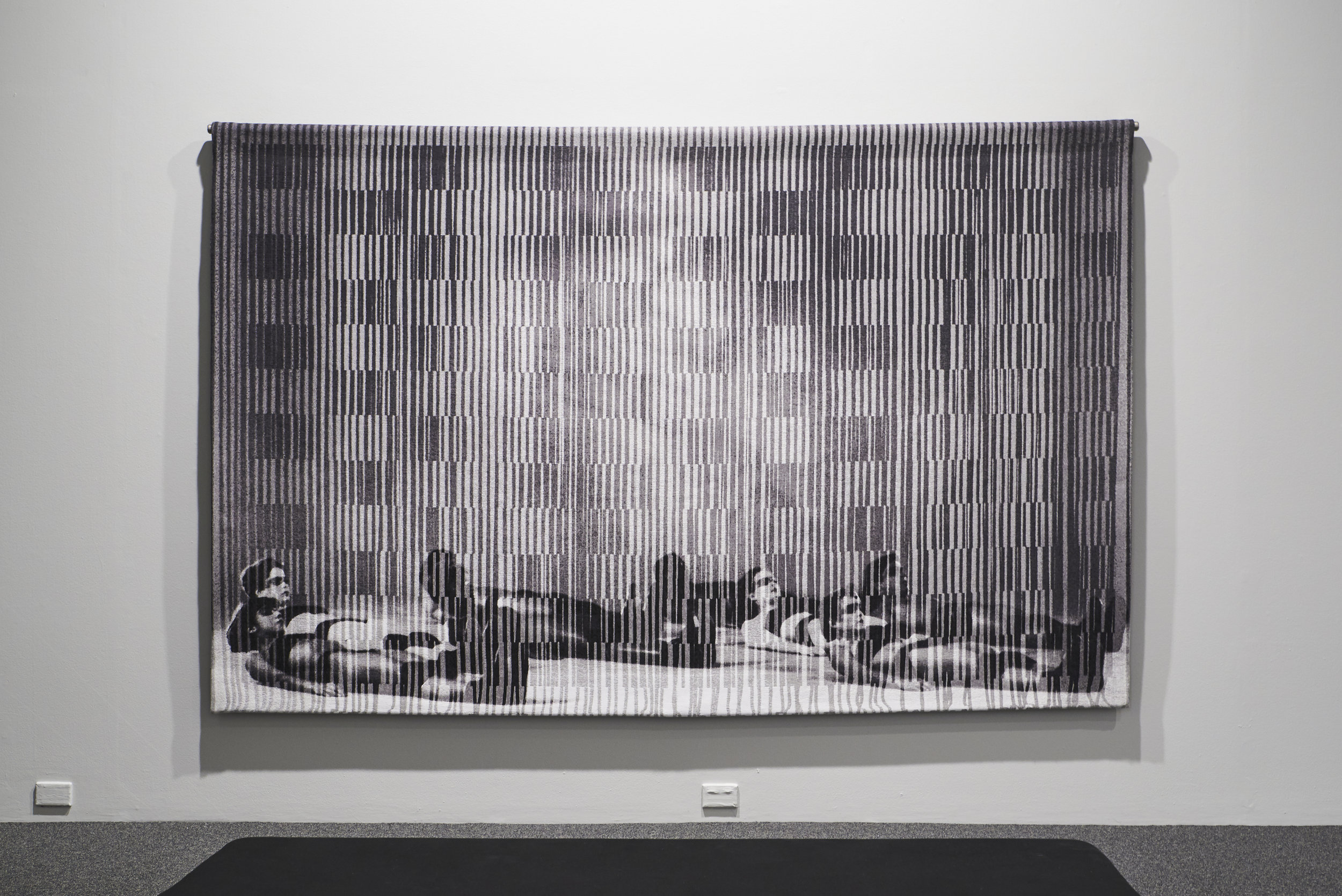 David Noonan,  Untitled , 2019, installation view, 'A Dark and Quiet Place', Fremantle Arts Centre, 2019; Jacquard tapestry, stainless steel hanging system, 190 x 300cm; photo: Rebecca Mansell