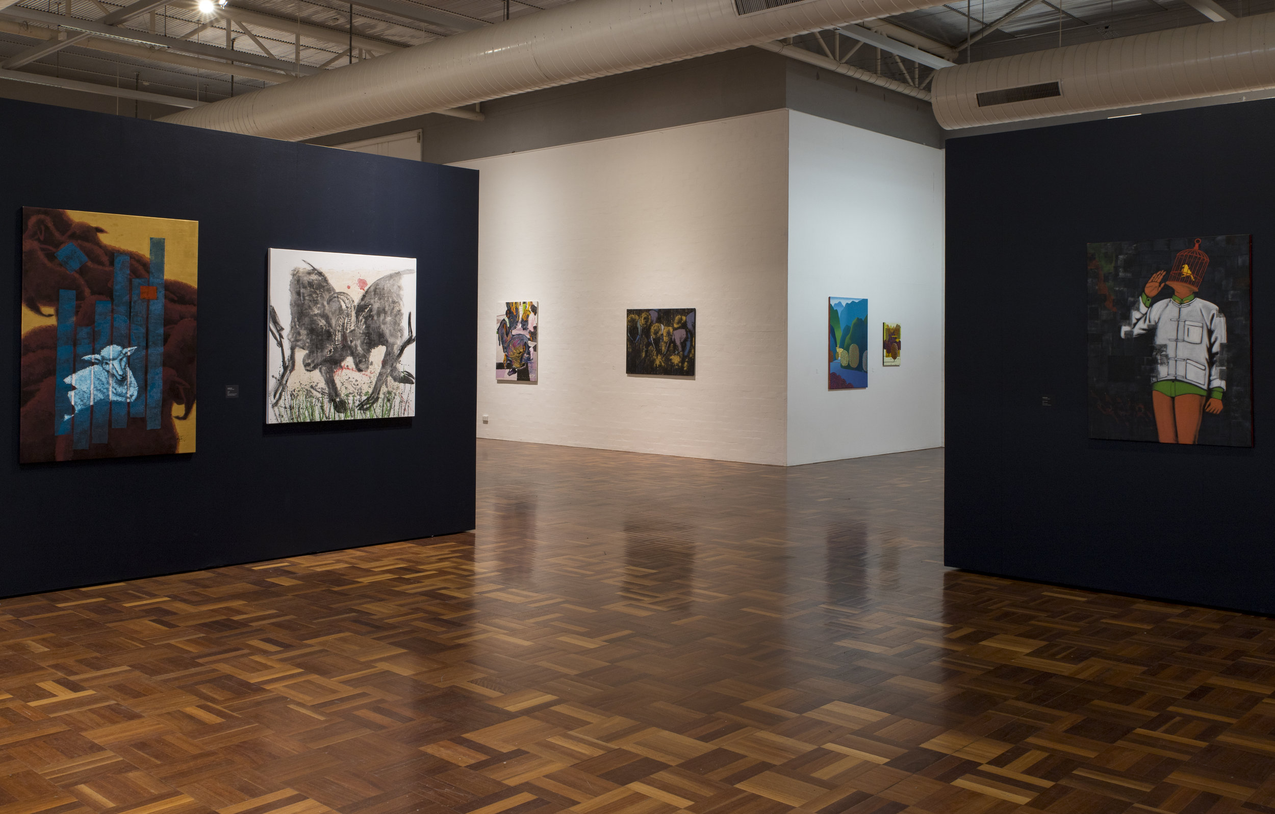 Pictures of Transition: Contemporary Paintings from Myanmar , exhibition installation view, ANU School of Art & Design Gallery, Canberra, March 2019; photo: David Lindesay