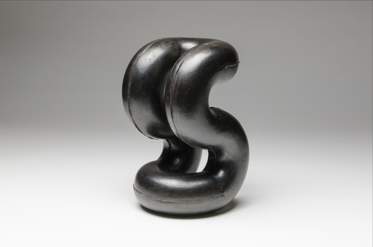 8 FREESTANDING: SODEISHA AT NEWCASTLE ART GALLERY: JILL STOWELL,  NEWCASTLE    Kazuo Yagi,  Design plan (Face) ,1977, black-fired earthenware, 28.5 x 18 x 18.5cm; Newcastle Art Gallery, gift of members of the Sodeisha group, 1981; image courtesy Newcastle Art Gallery