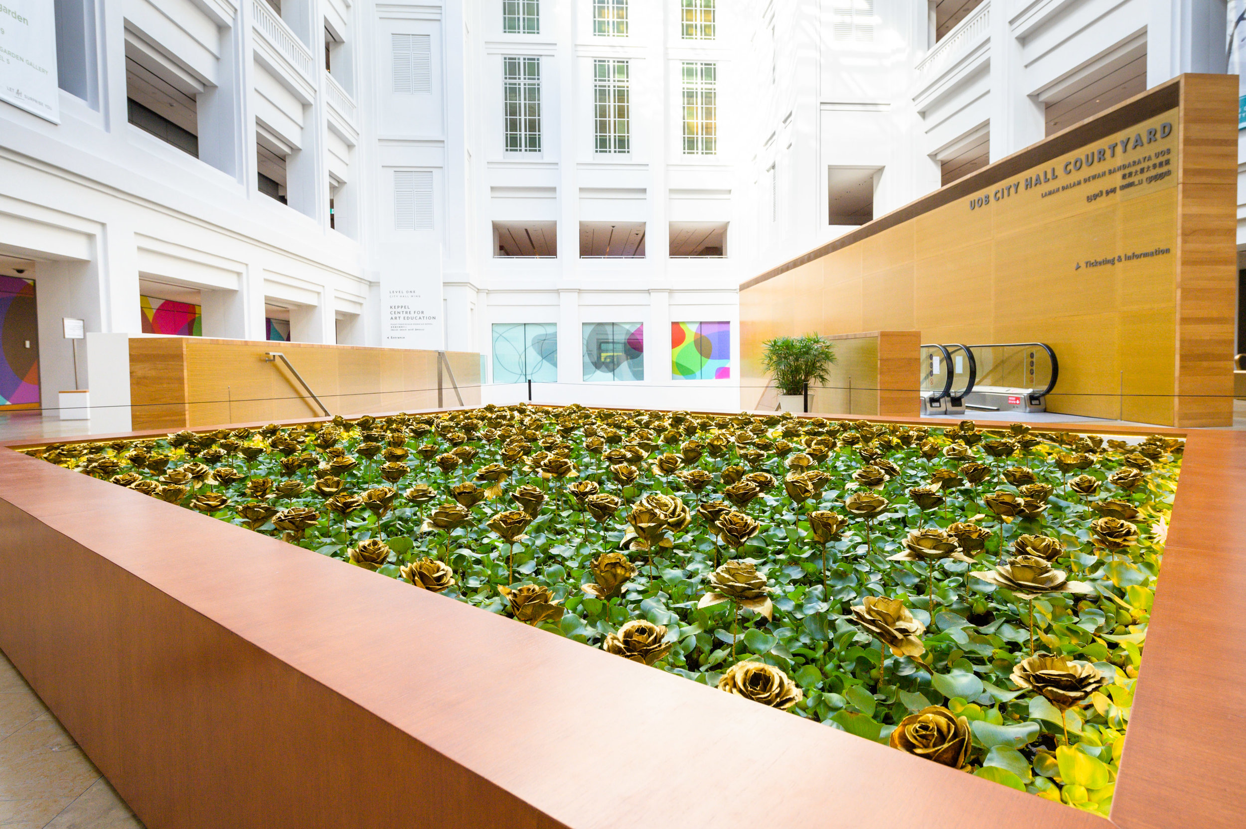 Siti Adiyati,  Eceng Gondok Berbunga Emas (Water Hyacinth with Golden Roses) , 1979/2017, installation view, 'Awakenings: Art in Society in Asia 1960s–1990s', National Gallery Singapore, 2019; image courtesy National Gallery Singapore