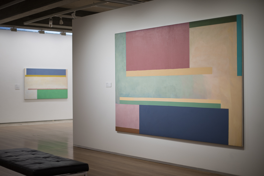 Virginia Cuppaidge: The Nature of Abstraction , exhibition installation view, Newcastle Art Gallery, 2019, with (from left):  Saix , 1974, and  Lyon , 1972; image courtesy Newcastle Art Gallery
