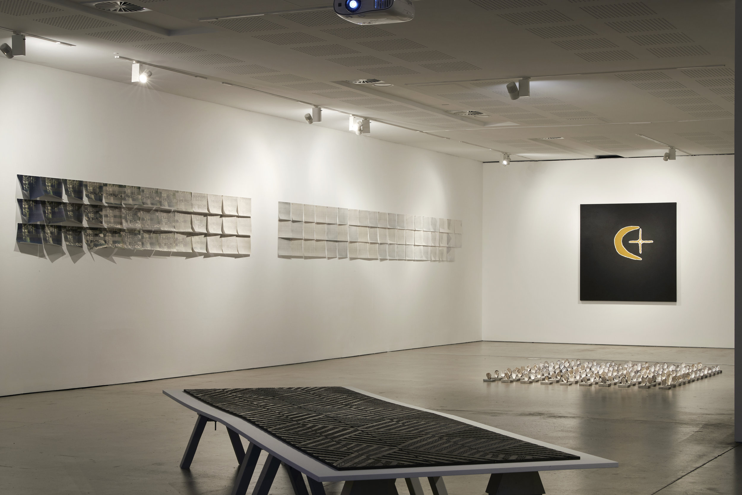 Material Place: Reconsidering Australian Landscapes , exhibition installation view, UNSW Galleries, Sydney, 2019, with the work of Bonita Ely, Gunybi Ganambarr, Megan Cope and Mabel Juli; photo: Zan Wimberley