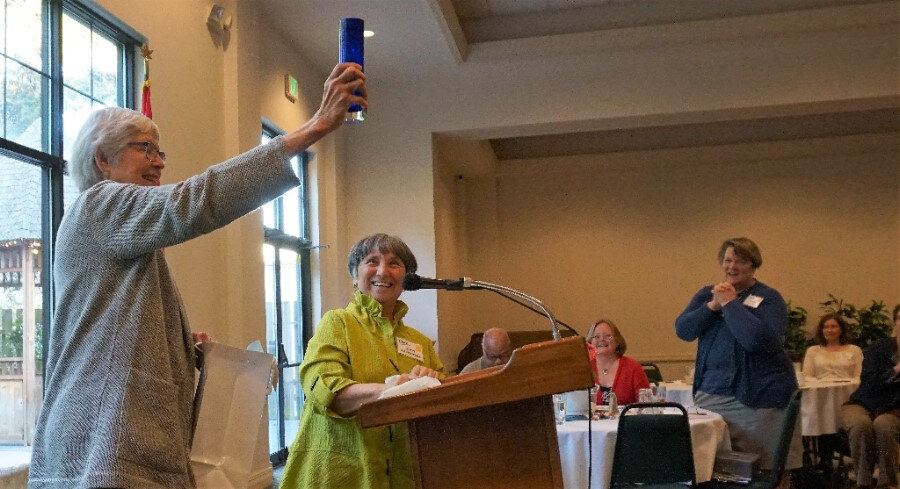 Elsie Heinrick receives a Carrie Chapman Catt Award for her long-time dedication to the LWV of Bellingham/Whatcom County