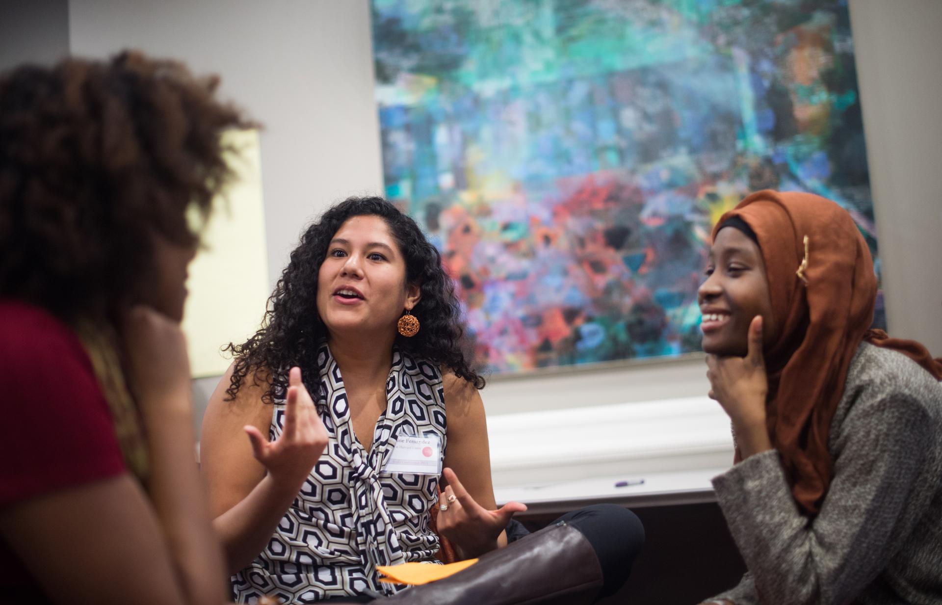 Photo by: Gretchen Ertl/Boston Globe (Esther Maddox/Princeton, Jasmine Fernandez/Harvard, and Kujegi Camara/Princeton)