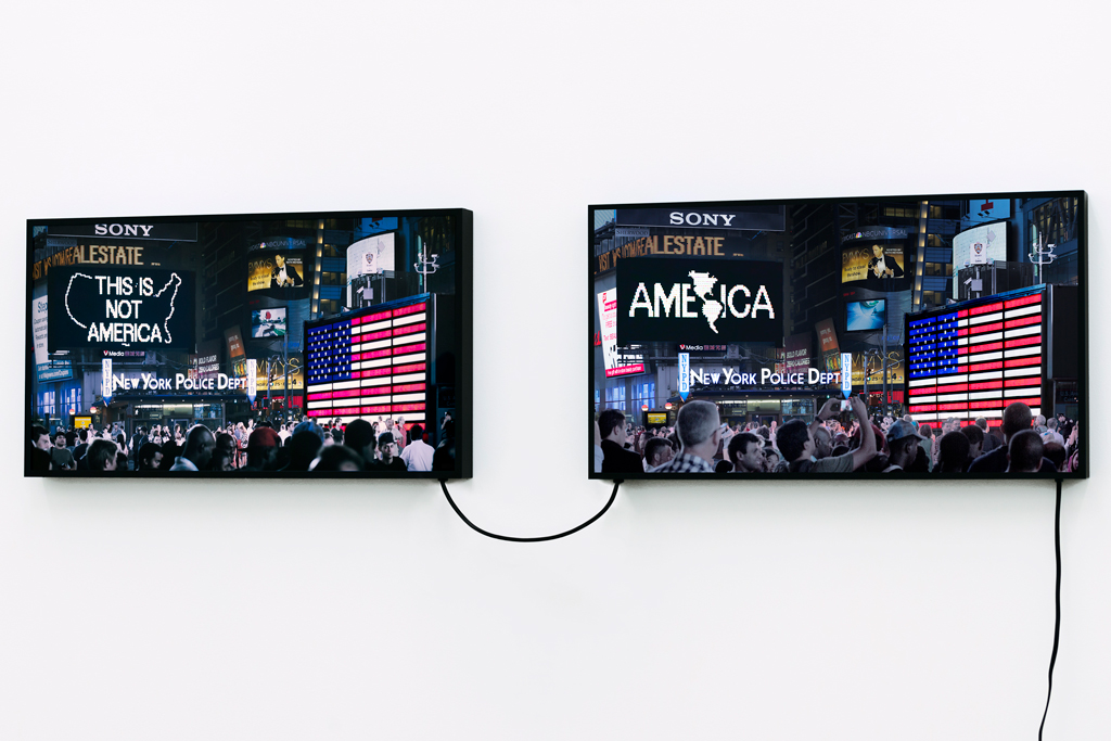 Credit: ArtNews (Alfredo Jaar, A Logo for America (1987-2014), 2016/Galerie LeLong)