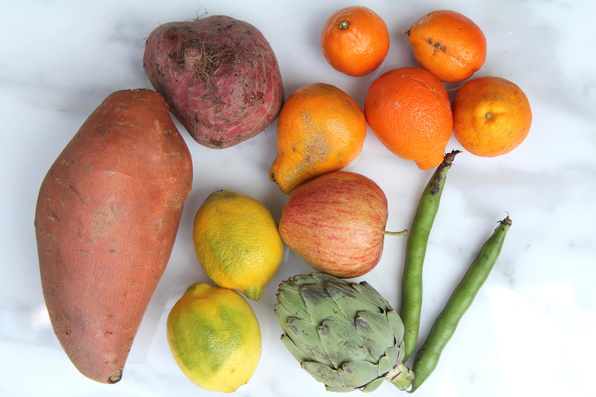 A sampling of the most imperfect looking produce in our box.  (Photo Credit: Hermosa Journal)