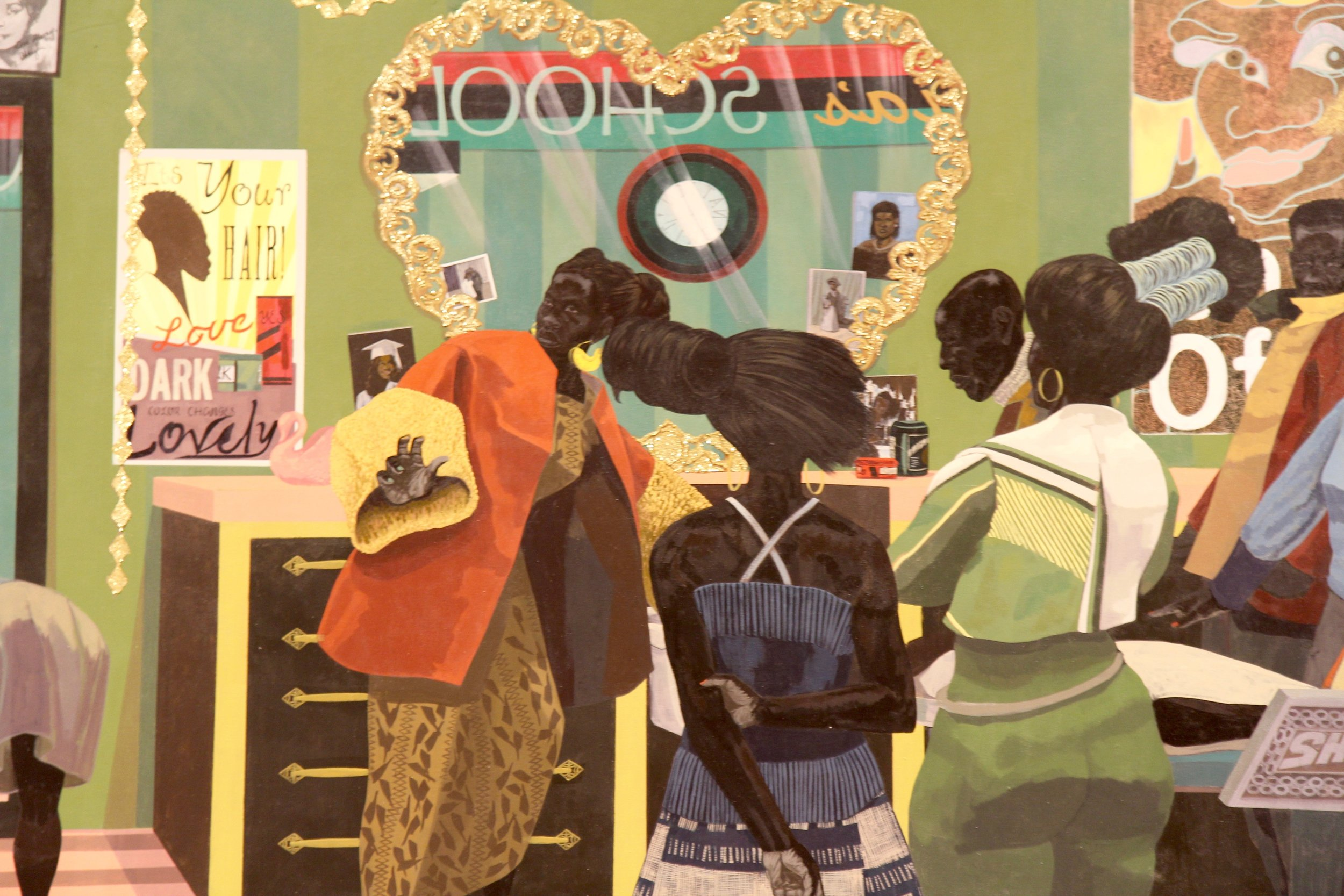 "Kerry James Marshall's ""School of Beauty, School of Culture"" (Detail) (2012). Photo credit: Hermosa Journal"