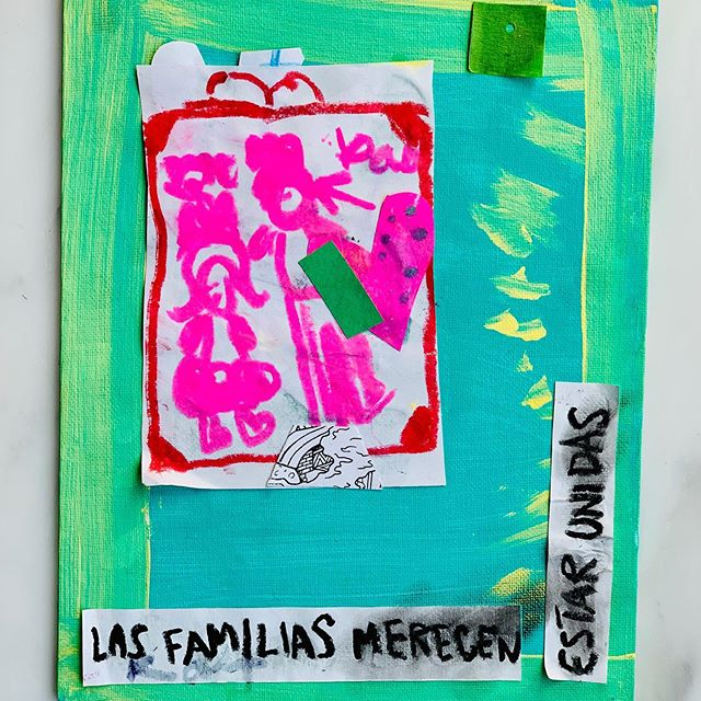 """Las Familias Merecen Estar Unidas"" • My child came home with this lovely creation the other day. Her work made me contemplate the power of art in helping children understand the world. Yes love, families belong together.  #hermosajournal #kidsartclass #chiquisocial #supportwomanowned  #creativesisters #familiesbelongtogether #brownmagic #chingonas #beautifullydiverseliving #latinxbusiness #latinastories #latinxstories #latinxcreative #sisepuede #latinxart #latinxkids #latinokids #latinxmoms #creatingabetterworld #arthealsthesoul #familiasmerecenestarjuntas"