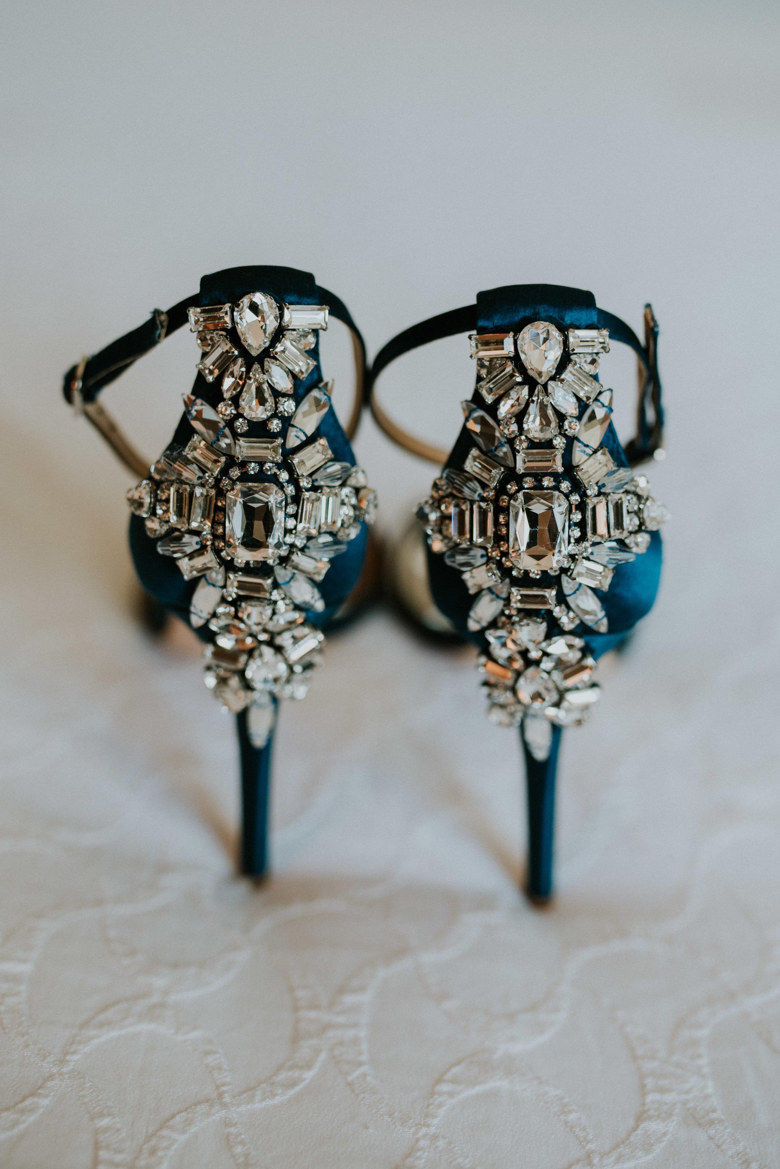 A pair of navy Badgley Mischka designer wedding heels
