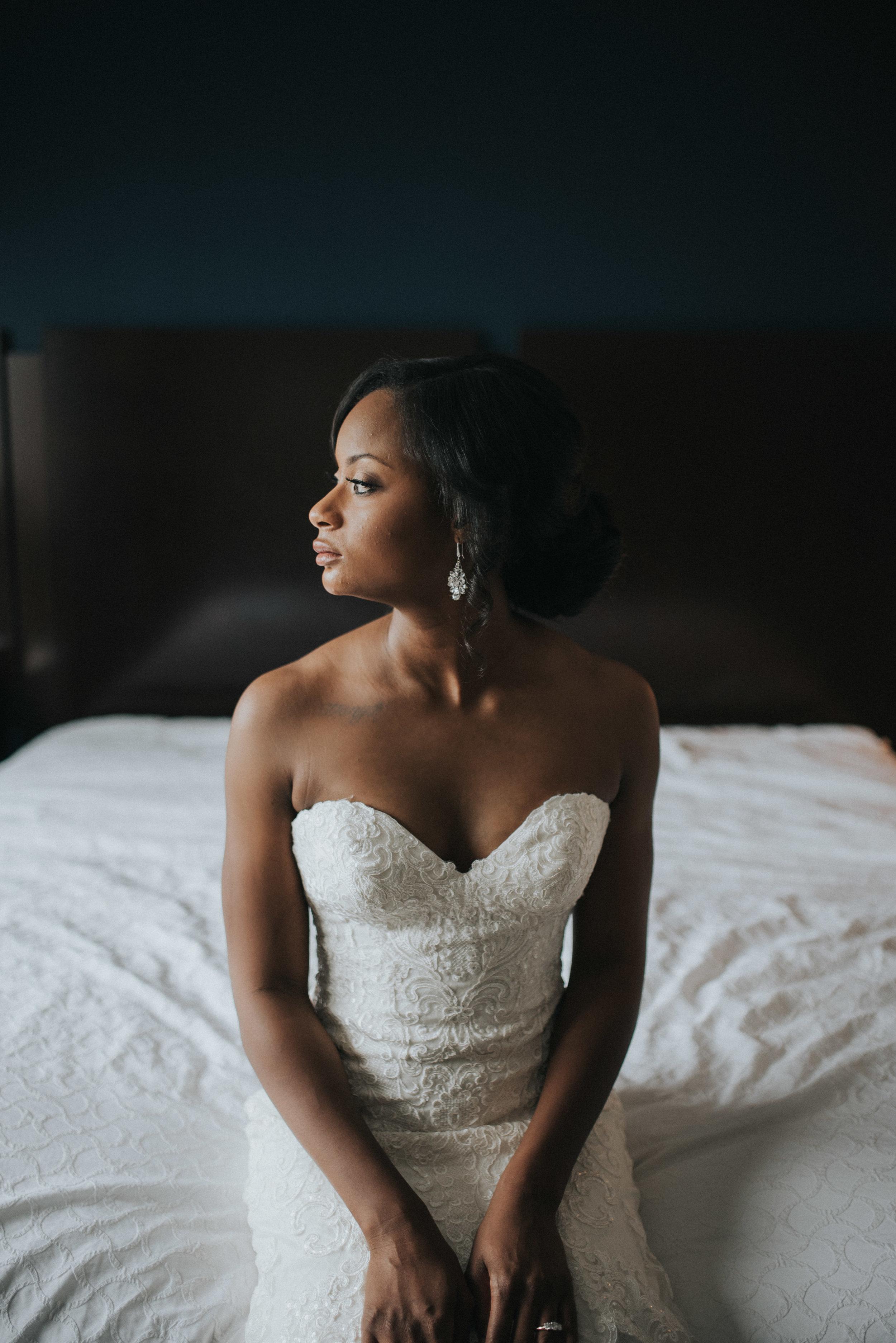 Portrait of bride in a Martina Liana wedding gown at Embassy Suites Atlanta