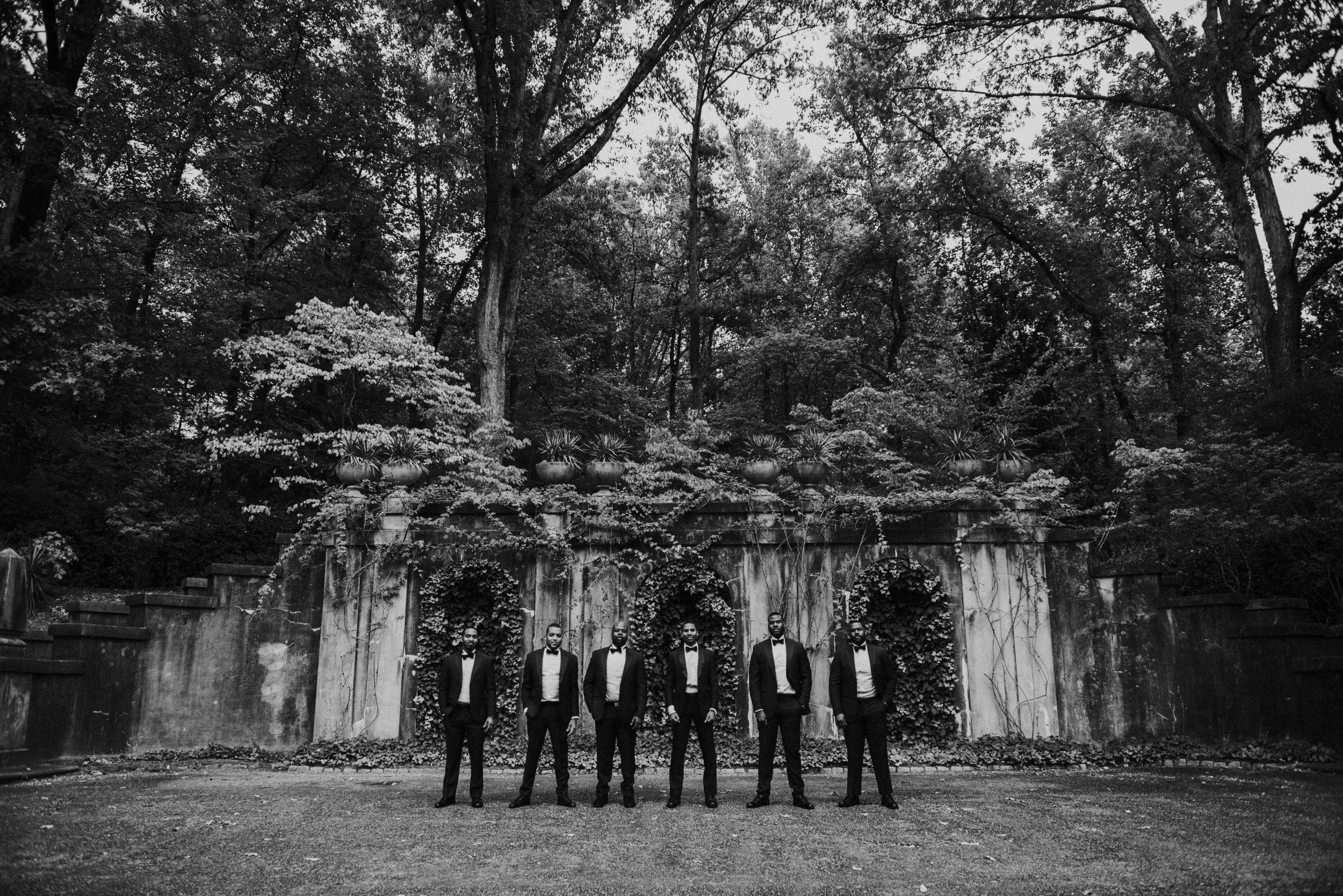 Groomsmen outside of Swan House in Atlanta, GA