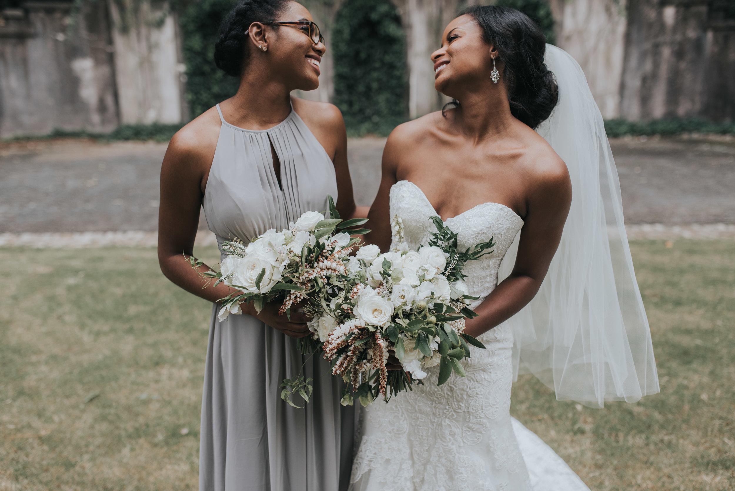 Bride and bridesmaid at Swan House in Atlanta, GA