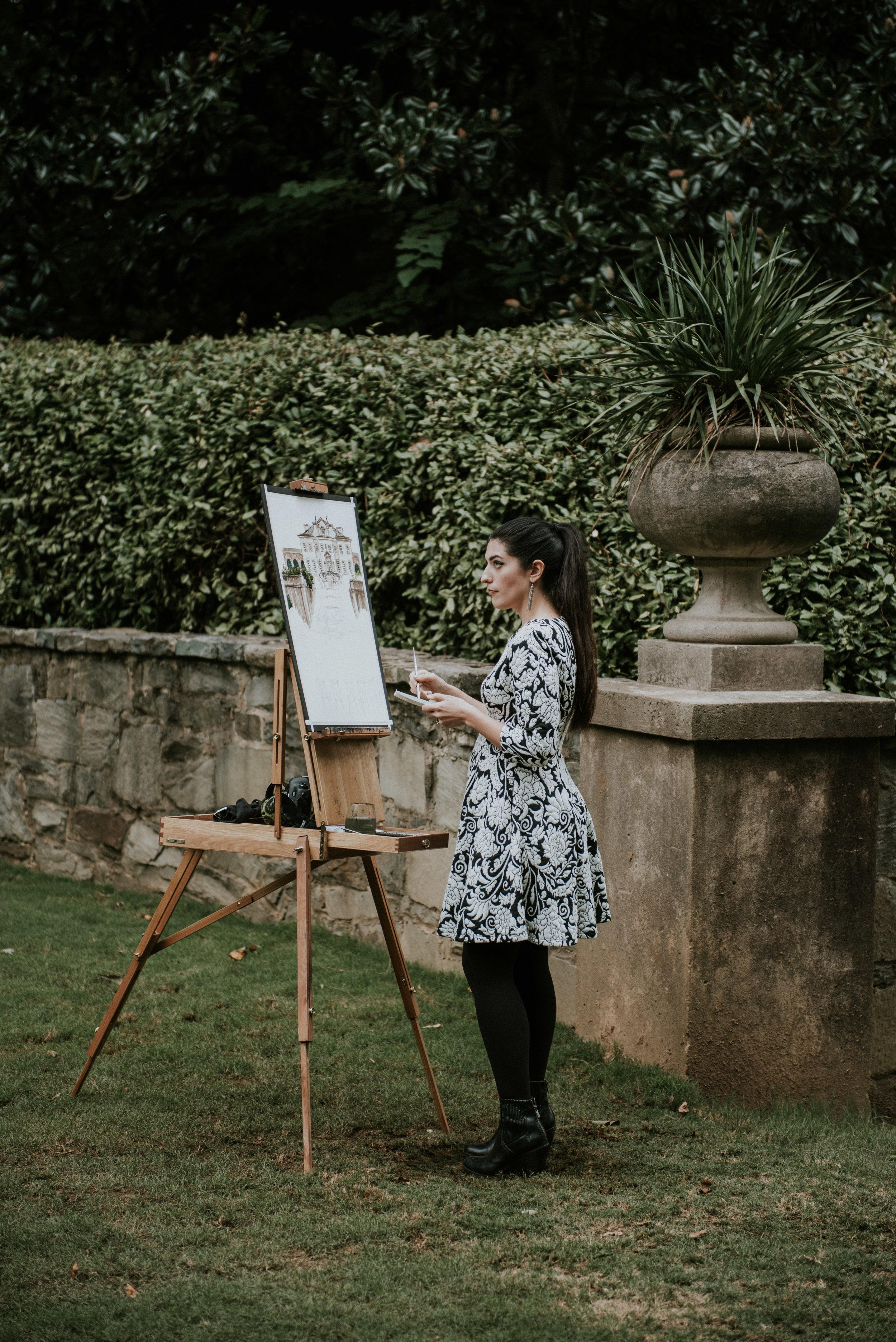 Maggie Smith Kuhn live paints wedding ceremony