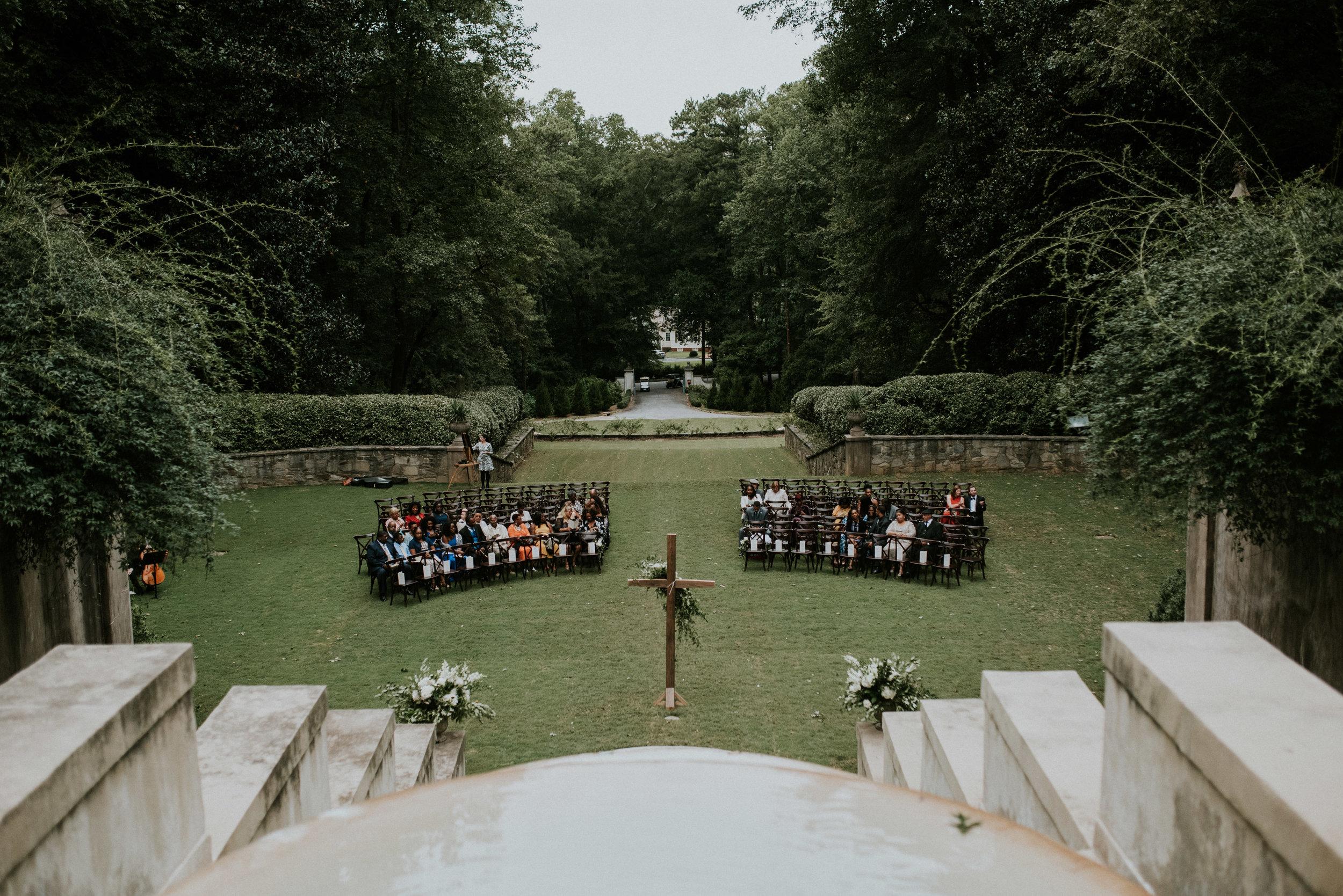 Swan House lawn wedding ceremony in Atlanta, GA
