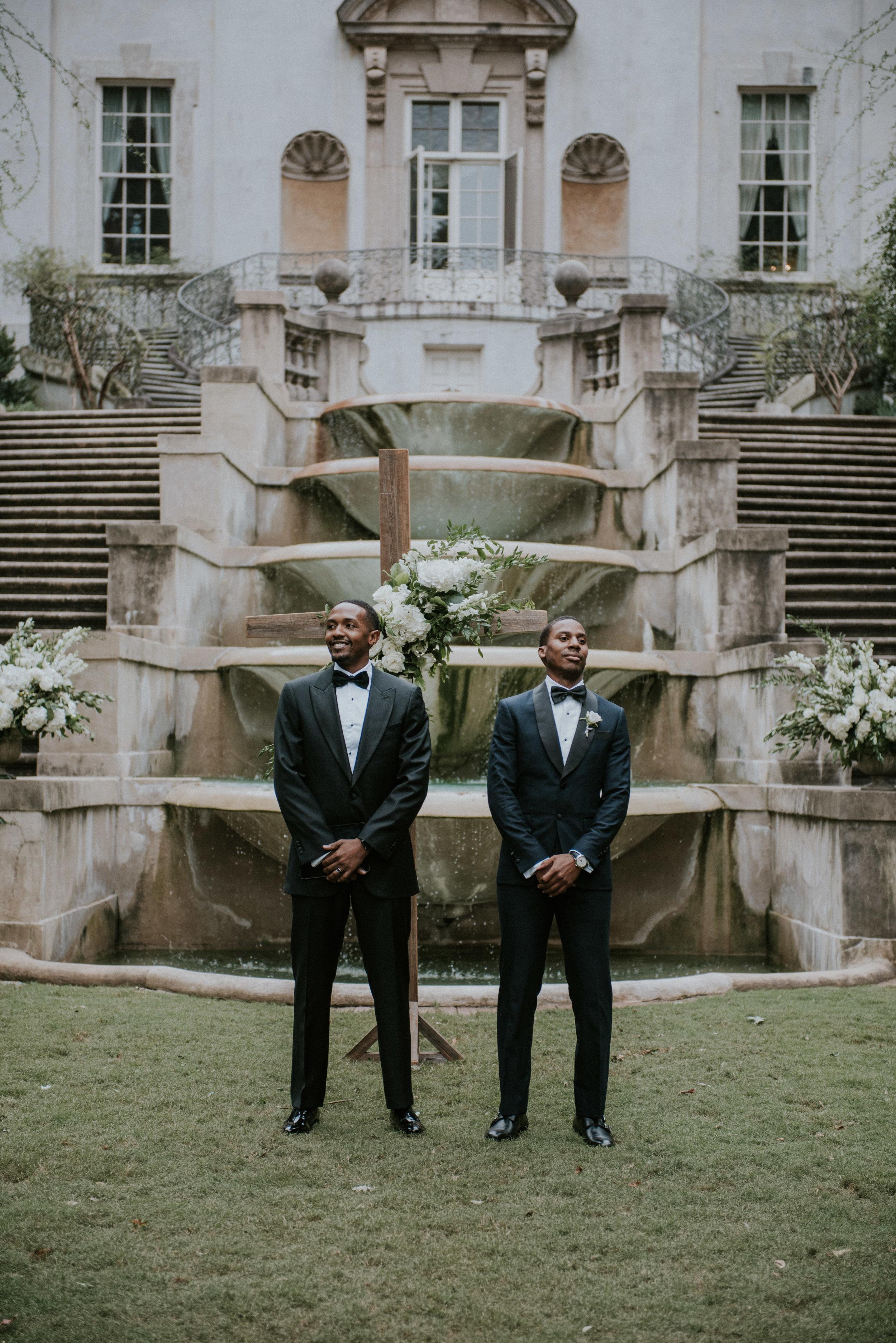 Groom anticipates bride during ceremony at Swan House in Atlanta, GA